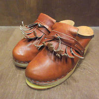 ビンテージ●レディースフリンジレザーサボ茶size 35●210514n3-w-sdl-22cmサンダルブラウンタッセル古靴革女性用