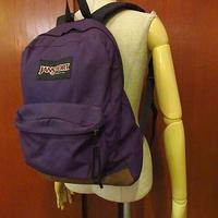 MADE IN U.S.A. JANSPORTボトムレザーナイロンバックパック紫●200910f8-bag-bpリュックサックジャンスポーツアウトドアUSA製