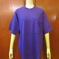 ビンテージ90's★DEADSTOCK BVDポケットTシャツ紫L★200525s4-m-tsh-pl 1990s デッドストックUSA製米国製無地ポケT