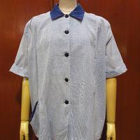 ビンテージ40's●レディースチェックコットン半袖ブラウス●210512s6-w-sssh 1940sシャツ青白