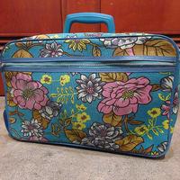 ビンテージ70's●レトロ花柄トランクバッグ中●210620r8-bag-trkハンドバッグフラワーヒッピー旅行カバンケース