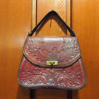 ビンテージ-60's●型押しレザーハンドバッグ茶●210322s7-bag-hnd 1960s1970sカバンヒッピーレトロ革製鞄