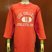 ビンテージ70's●COE COLLEGE ATHLETIC DEPT.コットンフットボールTシャツ赤●210111f3-m-ostsh古着七分袖メンズカレッジUSA