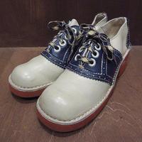 ビンテージ70's●JCPenneyレディースツートンスクエアトゥサドルシューズsize 24cm●210618n1-w-dshs-24cm革靴JCペニーコンビシューズ