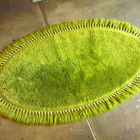 ビンテージ70's●レトロ楕円形シャギーラグ●210312s7-rug 雑貨インテリア絨毯マット