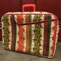 ビンテージ70's●花柄トランクバッグ大●201202s4-bag-trk 1970sレトロスーツケース旅行鞄