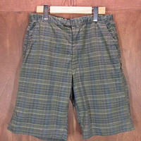 ビンテージ60's●チェックショーツ●200621n2-m-sht-wf 1960sメンズハーフパンツショートパンツ緑グリーン
