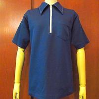 ビンテージ70's●NAT NASTチェーンステッチボウリングポロシャツ紺●200720s2-m-sssh-bw古着Tシャツポロシャツ半袖USAポリエステル