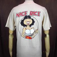 ビンテージ70's●DEADSTOCK NICE RICEバックプリントTシャツベージュM●201109n2-m-tsh-ot 1970sデッドストック