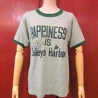 ビンテージ70's●HAPPINESS IS Baileys Harbor スマイリープリントリンガーTシャツ緑●200709s3-m-tsh-ot 半袖古着