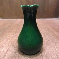 ビンテージ●セラミックフラワーベース深緑●201208n7-otclct 花瓶グリーンアメリカン雑貨インテリア雑貨