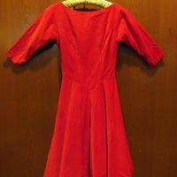 ビンテージ50's●ベロアサーキュラーワンピース赤●201212f8-w-ssdrs古着半袖ワンピースドレスレッドロカビリーUSA