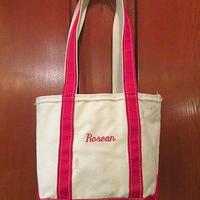 ビンテージ80's●L.L.Beanジッパー付きロングハンドルトートバッグ赤×白sizeS●200629f6-bag-ttエルエルビーンビーントートハンドバッグ
