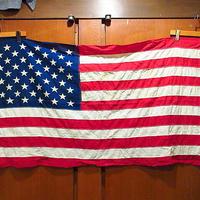 ビンテージ60's70's●50星アメリカ星条旗 78cm×137cm●210211s8-sign インテリアディスプレイ雑貨米国旗バナー