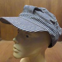 ビンテージ70's●ヒッコリーストライプワークキャップ●210614n4-m-cp-wk 1970sメンズ帽子