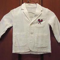 ビンテージ60's●キッズラクロス刺繍入りテーラードジャケット白●200606f11-k-jk古着子供服アウターブレザー