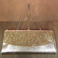 ビンテージ70's80's●ゴールドラメガマ口パーティバッグ●200720n6-bag-hnd 1970s1980sレディースハンドバッグイブニングバッグ