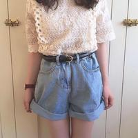 over size denim short pants