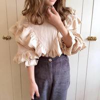 frill retro blouse (light beige)