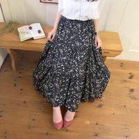 flower teared skirt (black)