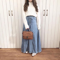 <OUTLET>lace up design denim skirt