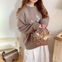 embroidery flower natural knit(charcoal gray)