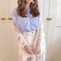 flower lace fairy blouse (pail flower blue)