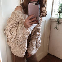 pon pon heart knit cardigan