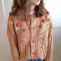 pon pon flower knit cardigan (orange brown)