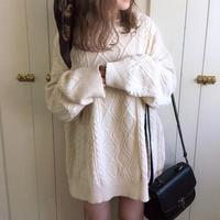 over size long knit (white)