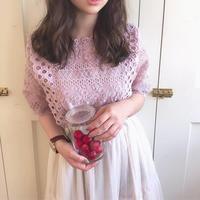 jacquard lace peplum blouse (smoke pink)