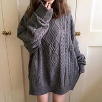over size long knit (dark gray)