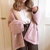 mochi knit pocket cardigan (milk strawberry)