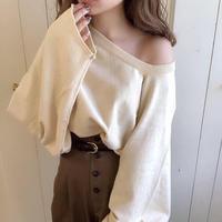 one shoulder wide sleeve mochi knit