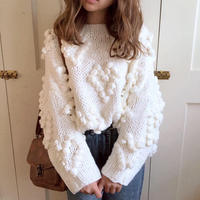 pon pon heart knit (white)
