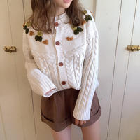 pon pon flower knit cardigan (white)