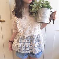 jacquard lace peplum blouse (ivory)