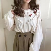 pon pon flower knit cardigan