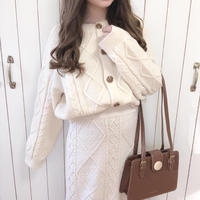 cable knit cardigan (milk)