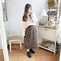antique flower choco skirt
