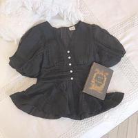lace balloon blouse (black)