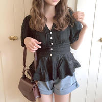 lace balloon blouse (black)