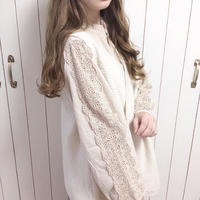 new lace line natural blouse