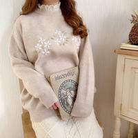 embroidery flower natural knit(beige)