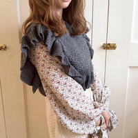 flower layered frill knit (dark gray)