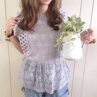 jacquard lace peplum blouse (smoke purple)