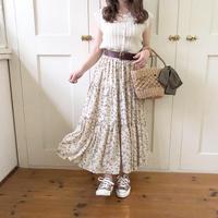 flower teared skirt (ivory)