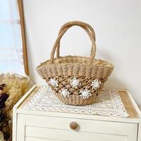 crochet flower basket bag