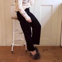 corduroy straight pants (black)
