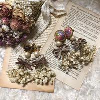 w ribbon pearl earring